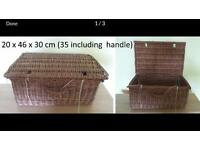 Large Vintage Wicker Picnic Basket 20 x 46 x 30 cm