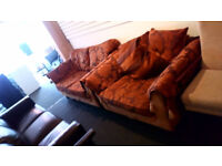 REDUCED BEAUTIFUL FABRIC 2 SEATER SOFA AND MATCHING WIDE SNUGGLE ARMCHAIR WITH CONTRASTING CUSHIONS