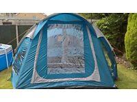 Regatta 4 man 2 room tent, sewn in ground sheet and carpet.