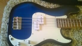 Three quarter size electric bass guitar .