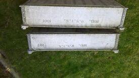 2x Galvanised steel trays and large galvanised steel tank.