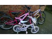 joblot of 6 bikes & 5 bike frames spares & repairs & bike accessories