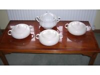 4 x White Serving Tureens, 3 x 2.5 ltr Identical & 1 x 3 ltr Soup Tureen, Unused, Like New