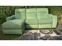 Ex-display Sage Green Fabric Electric Reclining 3 Seater Lounger and Arm Chair.