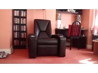 Signature Premiere Cinema Leather Electric Recliner STUNNING Gaming Chair Armchair Seat Sofa Black
