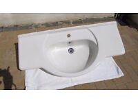 White Ceramic Inset Bathroom Basin- 1050mm Wide