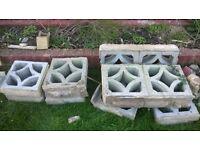 Retro vintage reclaimed diamond screen concrete walling blocks x 19