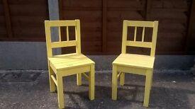 2 Ikea children's wooden chairs