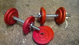 2 x Weider dumbbells for sale (8KG per set)