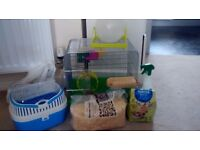 Hamster cage, travel case and accessories