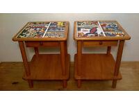 2 X BEDSIDE TABLES C/W DRAWER DECOUPAGED IN MARVEL DESIGN – LITTLE WEAR & TEAR
