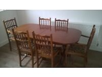 Solid Wood Dining Room Table (expandable) and Chair Set