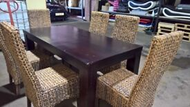 Seagrass Dining Chairs with Solid Wood Dining Table