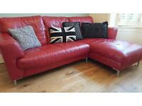 Corner RED LEATHER three seater sofa
