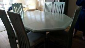DELORME, Octagonal, Pedestal, Solid Wood, Extendable, Dining Table+ 6 Matching Chairs