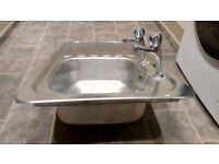 Kitchen sink with pillar taps and waste. Very good condition.