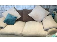 3 seater sofa , cream with brown and cream scatter cushions ! Offers welcome !!!