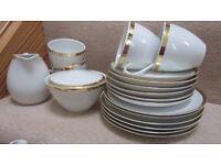 Tea set, white with gold rim