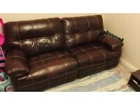 Real Leather Recliner Sofa 3 Seater Manual (2.5 years old)