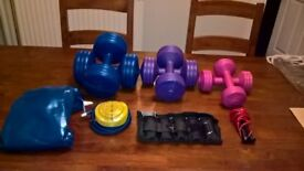 Gym Master 10 piece keep fit kit - 6 weights, gym ball & pump, leg/wrist ankle weights & skip rope