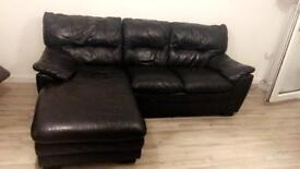 Chocolate Brown Leather 3 seater Corner Suite For Sale