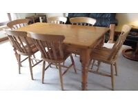 Kitchen pine table 6 chairs and breakfast bar stools. Solid wood.