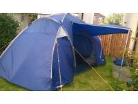 Four Man Halfords Tunnel Tent - Dark Blue, Unused