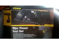 cougar cordless hammer drill,18v with 91piece set,in case