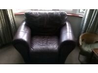 Two seater and armchair. Brown leather, no tears, very comfortable