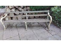 Antique Cast Iron and hardwood bench