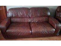 Free: 3 piece suite full brown leather with 2 reclining chairs