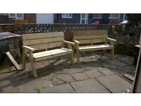 Garden benches £35 each Chair £25 each tables from £20 treated wood delivery possible at cost.