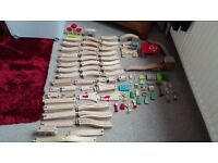 Selection of toy train track accessories brio