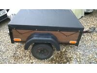 car trailer - 4' x 3' - good wheels & tyres, electrics and new weatherproof cover