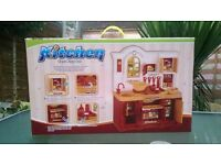 Kitchen plays toy set with sound - brown