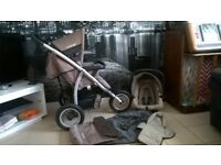 LOVELY CLEAN MAMAS AND PAPAS TRAVEL SYSTEM JOGGER PUSHCHAIR WITH EXTRAS