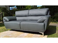 A Brand New Enzo Large 2 Seater Grey Leather Sofa