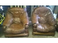Solid wood 2 seater sofa and 2 chairs