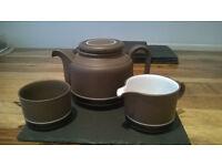 Vintage 1970s Retro Hornsea Contrast Teapot Sugar Bowl & Milk Jug Tea Set Collectible Pottery
