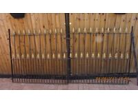 wrought iron double drive gates 18 months old with hanger posts