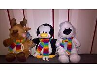 Set of 3 Christmas Buddies Soft Toys inc Penguin, Reindeer and Snow Bear
