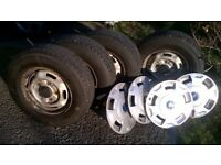 FORD TRANSIT WHEELS & TYRES 215/75/16 HIGH LOAD FULL SET + FREE SET GENUINE FORD TRIMS