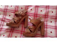 Chloe tan high sandals