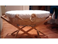 Mamas & Papa's moses basket with stand, two mattresses & two fitted sheets