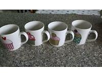 Box of 4 Fine China Mugs