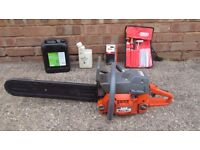 """Oleo-Mac 18"""" Professional Petrol Chainsaw chain oil, mixing bottle and sharpening kit"""