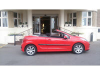 Peugeot 207 07 Reg 120 BHP 16v 1.6 CC Red Sport Convertible Coupe 2 Dr Cabriolet FOR SALE