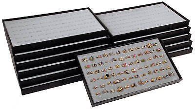 12 Black Plastic Stackable Display Travel Trays W Gray Ring Pad Organizers