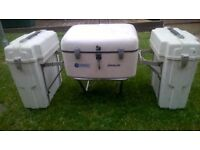 VINTAGE MOTORCYCLE PANNIERS AND TOP BOX