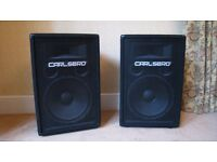 "CARLSBRO Powerline 500 Amp & 2 x Alpha AT12 200W RMS 8 Ohm Passive 12"" PA DJ Band Studio Speakers"